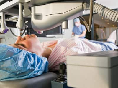 Woman undergoing LASIK eye surgery