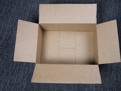 shipping box on floor