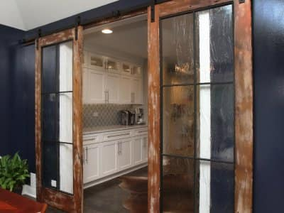 Sliding barn door in kitchen