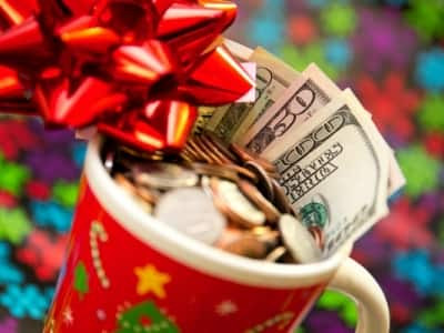 money in holiday mug