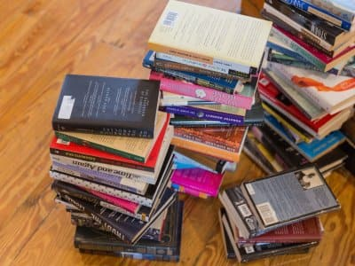 stack of used books