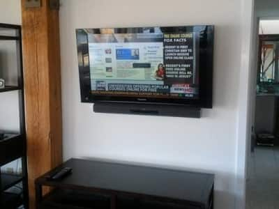 flat screen TV on a wall