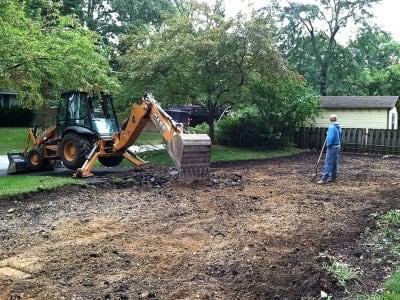 yard grading, yard leveling
