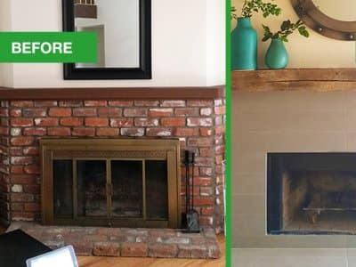 Dated Fireplace Mantel Turns To Rustic Modern