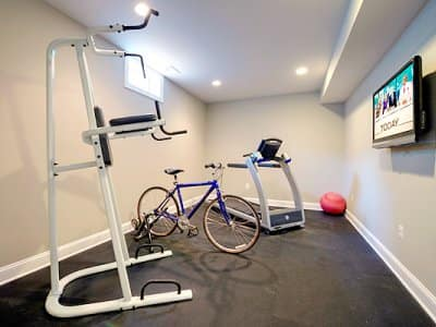 home gym, basement remodel, treadmill