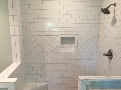 white subway tile open shower