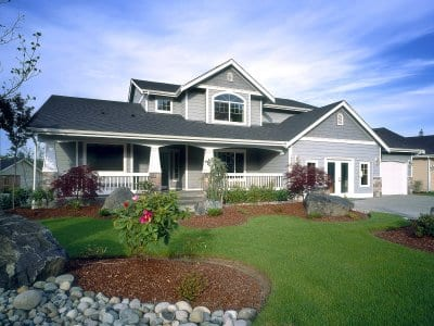 Gray Craftsman-style home