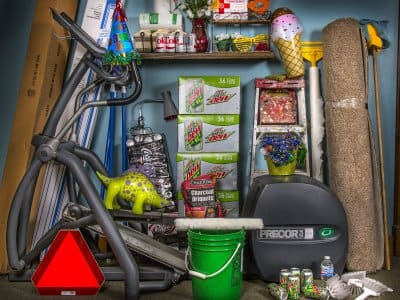 stacks of home stuff in a pile