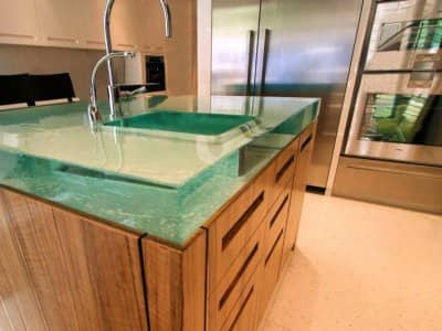 glass island countertop