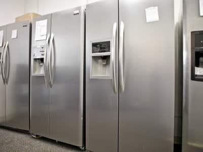 Refrigerators in a showroom