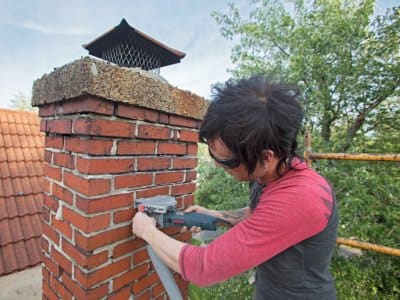 Chimney worker on the job
