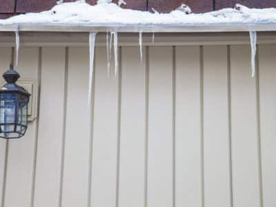 Icicles on roof edge