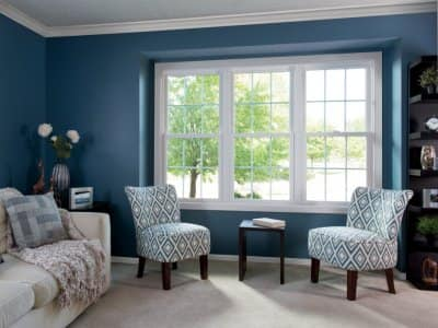 living room, window, blue walls, white couch