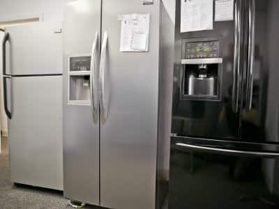 Refrigerators for sale in a showroom