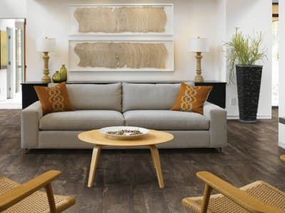 gray flooring, gray couch, gold accents