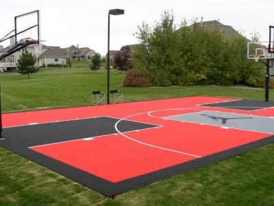Outdoor basketball court with Air Jordan logo