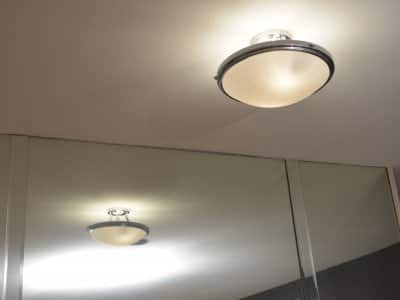 dim light fixture on ceiling
