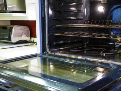Inside of an oven