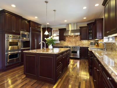 dark stain kitchen cabinets