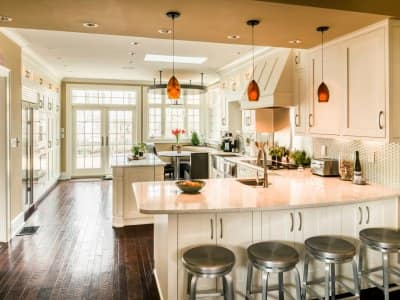 kitchen remodel with bar stools