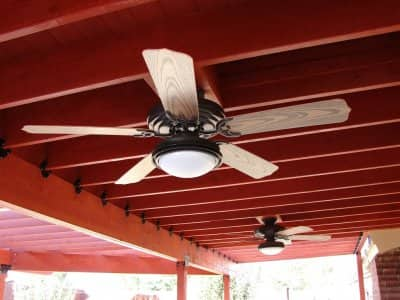 ceiling fan installed in outdoor patio area