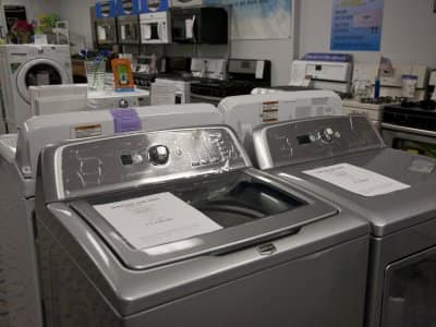 Washing machines in a showroom
