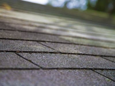 Closeup of roof shingles