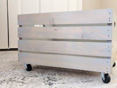 DIY toy storage bin with wheels