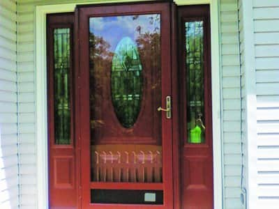 red storm door on home