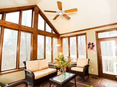 sunroom with large windows