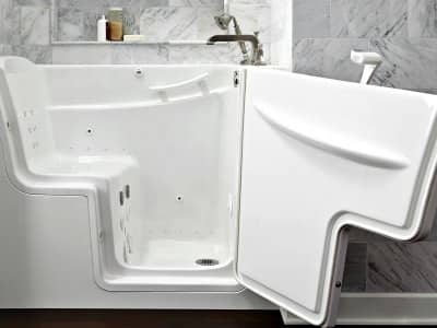 walk-in bathtub with door open