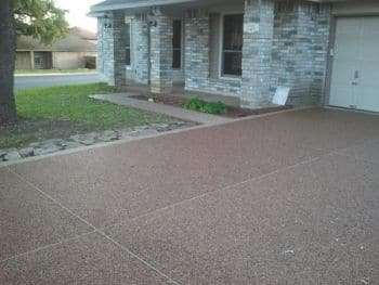 decorative concrete overlay. Contractor adds decorative concrete overlay to Live Oak driveway  1 3