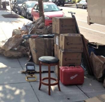Trash on sidewalk in D.C.