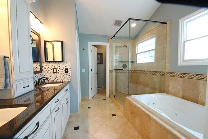 Bathroom remodel with travertine floors and frameless for Travertine eye drops