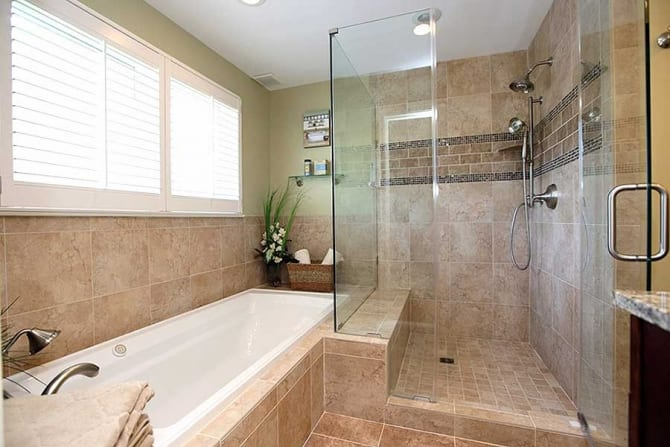 Bathroom remodel with tile bathtub and shower surround - Angie s list bathroom remodeling ...