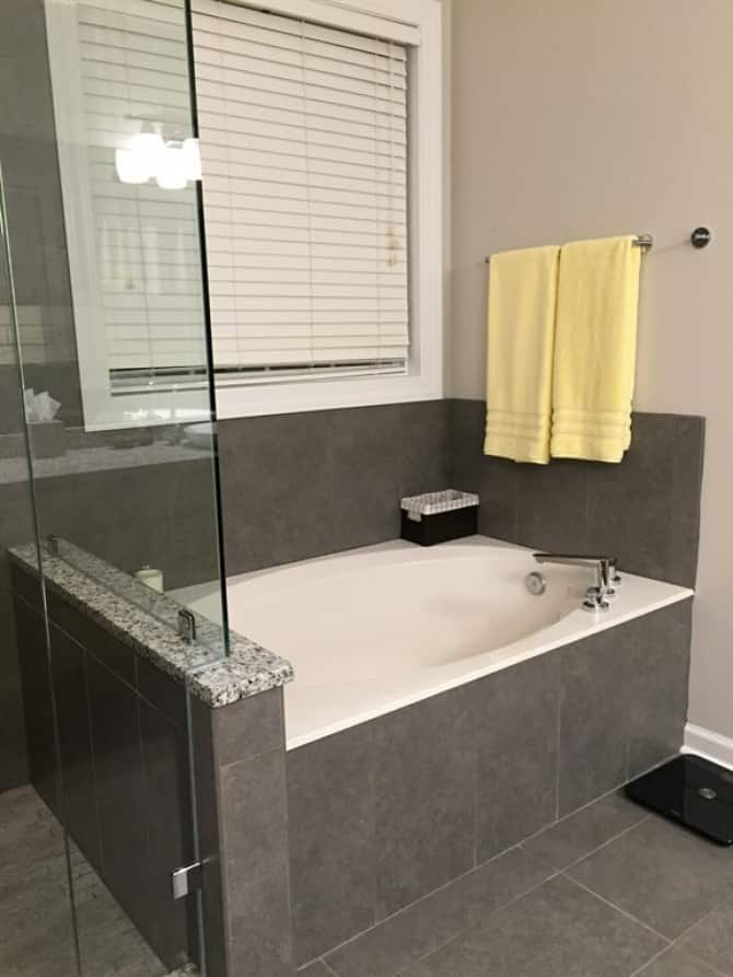 Garden Tub with Gray Tile Surround | Angie\'s List