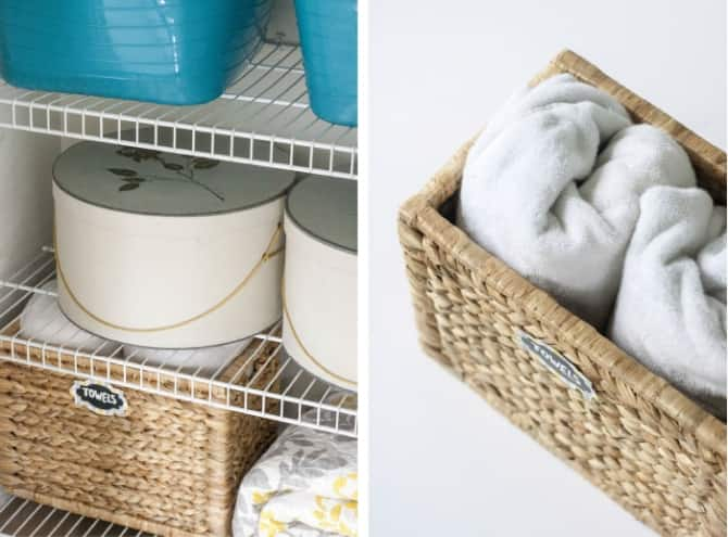 organized linen closet storage