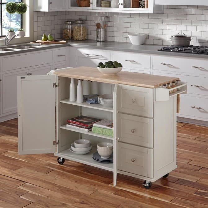 Mobile White Kitchen Island With Spice Rack, Towel Bar, Drawers And  Adjustable Shelves