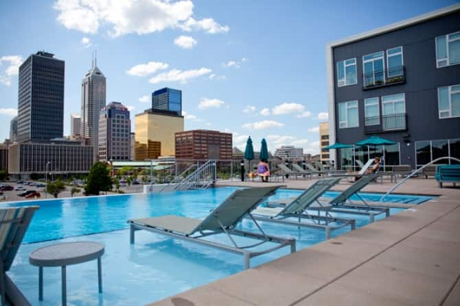 Rooftop Pool On Downtown Indianapolis Apartment Building