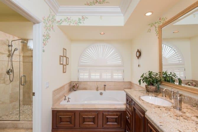 Master Bathroom With Soaking Tub And Walnut Vanity Angie