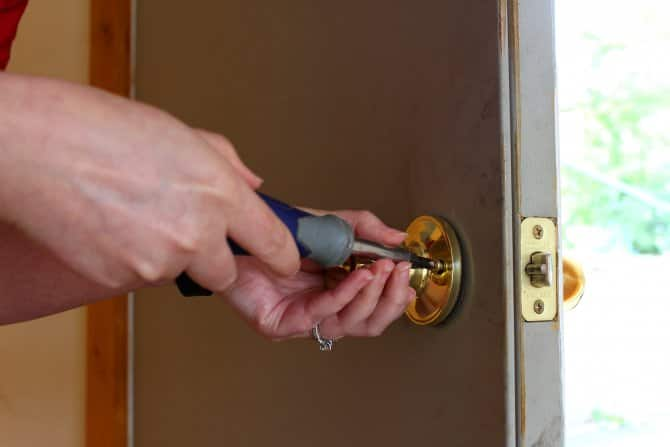 changing a doorknob