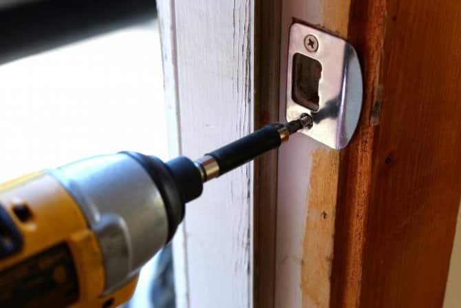 installing a door's strike plate