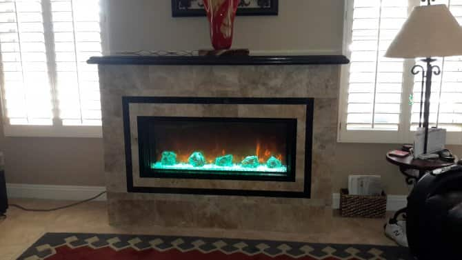 Electric Fireplace With Glowing Decorative Rocks Angie S List