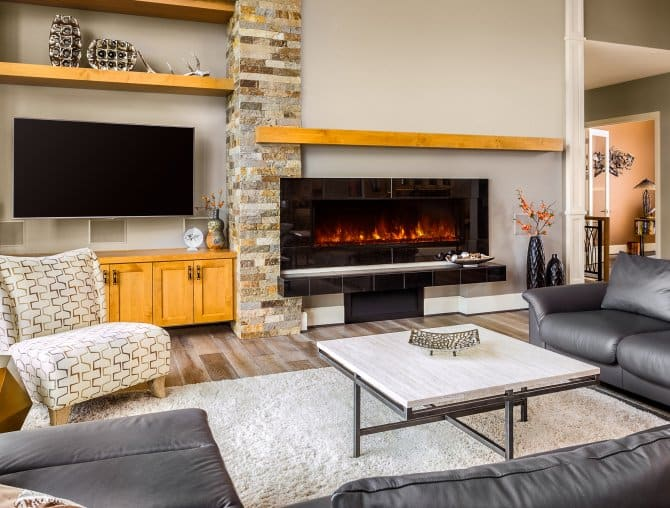 Electric Fireplace In Living Room With Tile Hearth Angie