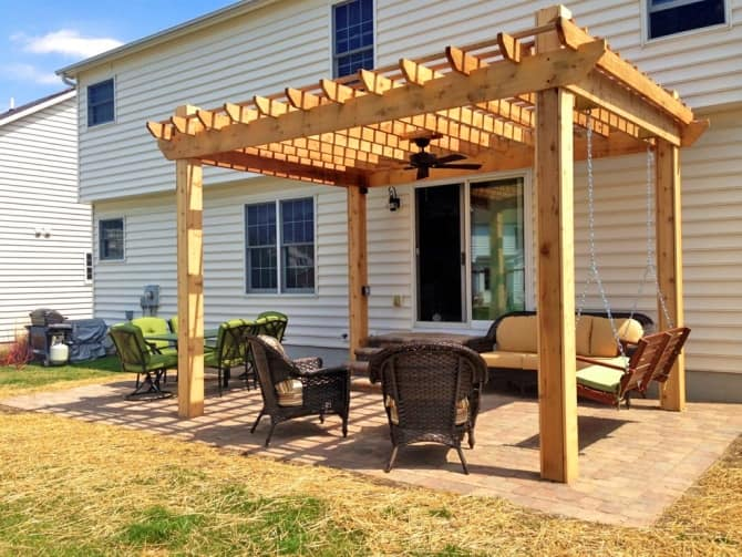 Pergola With A Ceiling Fan And Porch Swing Angie S List