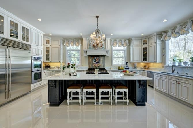 Open Kitchen with Large Island and White Marble Countertops  Angie's List