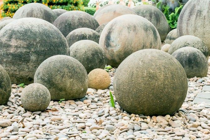 Stone Spheres In A Japanese Rock Garden