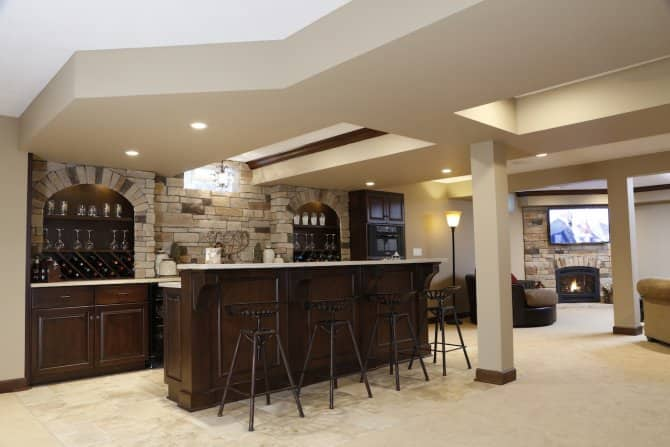 Basement Bar With Stone Detailing On Wall Angie S List