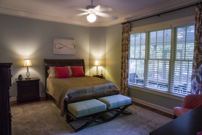 ceiling fan bedroom. Southern style master bedroom with ceiling fan and lamps  Angie s List