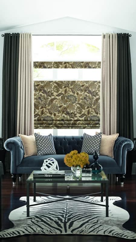 drapes on tall window in living room